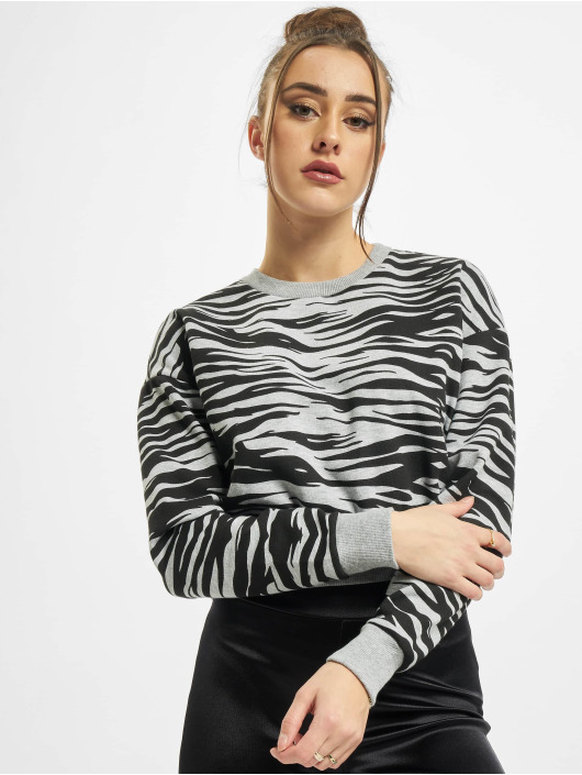 Urban Classics Sweat & Pull Ladies AOP Short Tiger Crew gris
