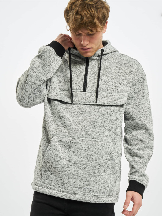 Urban Classics Sweat capuche Knit Fleece Pull Over gris