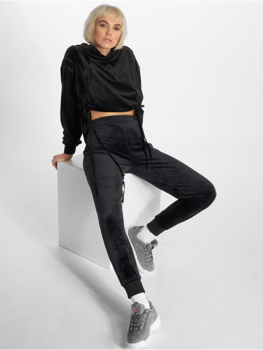 Urban Classics Sweat capuche Short Velvet Gathered noir