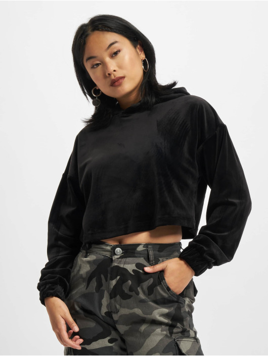 Urban Classics Sweat capuche Ladies Cropped Velvet noir
