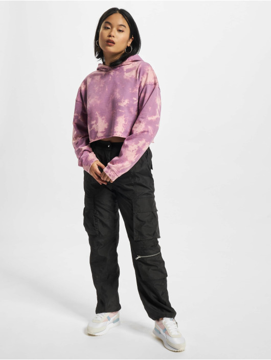 Urban Classics Sweat capuche Ladies Oversized Short Bleached pourpre