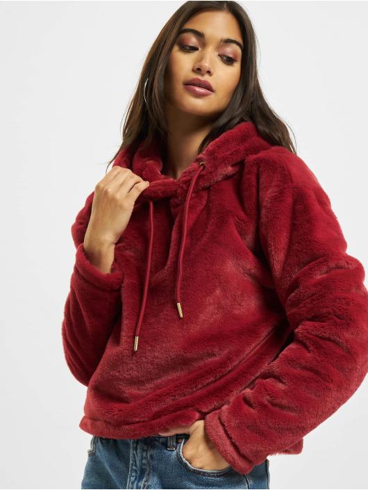 Urban Classics Sweat capuche Oversize Short Teddy rouge