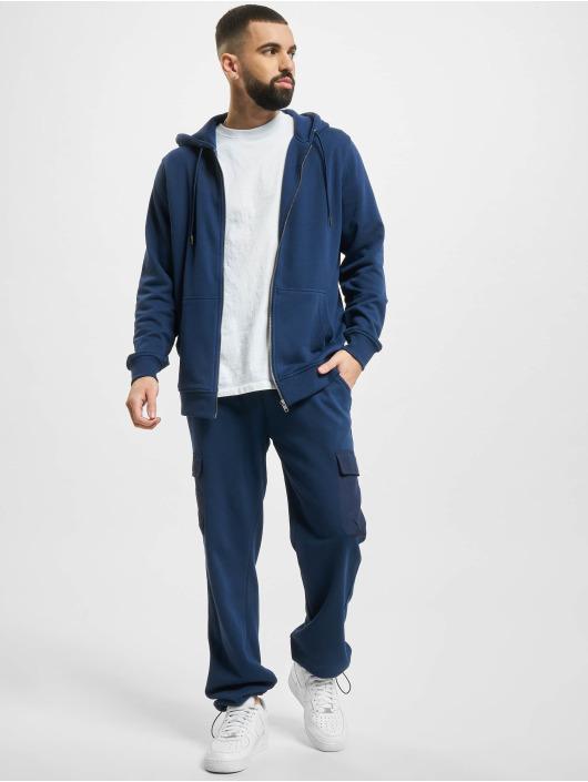 Urban Classics Sweat capuche zippé Basic Terry bleu