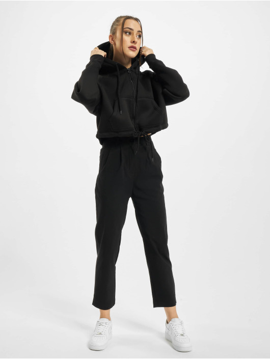 Urban Classics Sweat capuche zippé Ladies Oversized Short Raglan noir