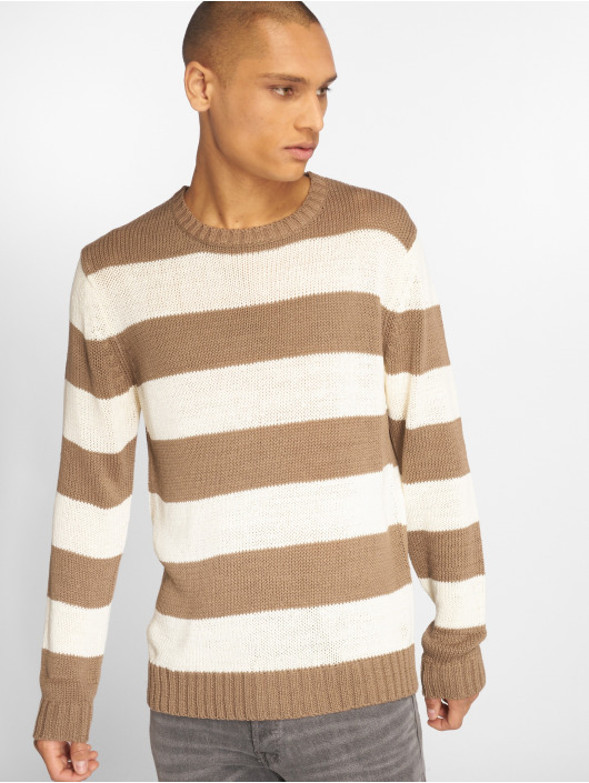 Urban Classics Swetry Striped bezowy