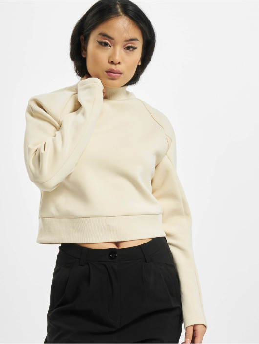 Urban Classics Swetry Ladies Interlock Short Turtleneck Crew bezowy