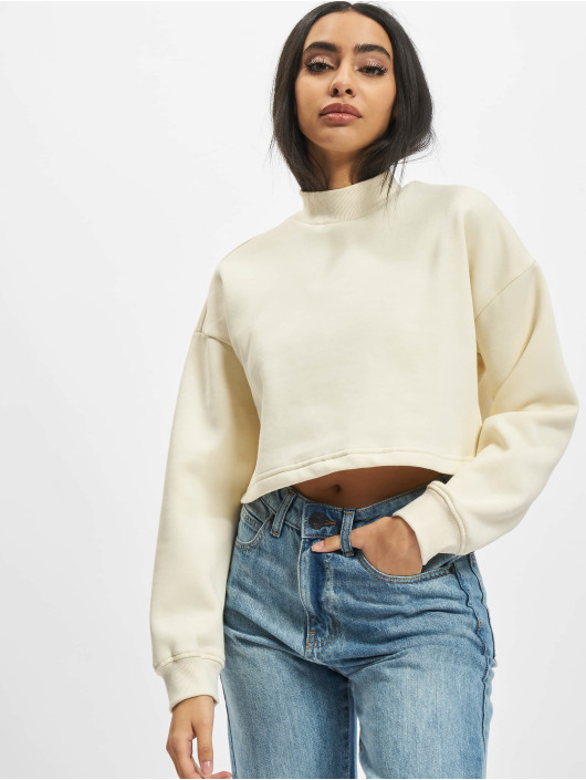 Urban Classics Swetry Ladies Cropped Oversized High Neck bezowy