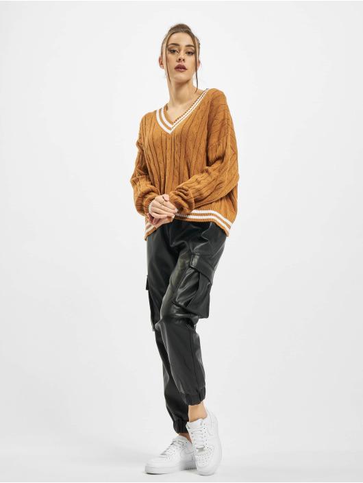 Urban Classics Swetry Ladies Short V-Neck College brazowy