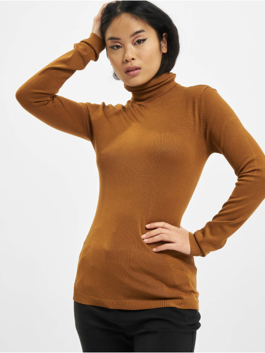 Urban Classics Swetry Ladies Basic Turtleneck brazowy