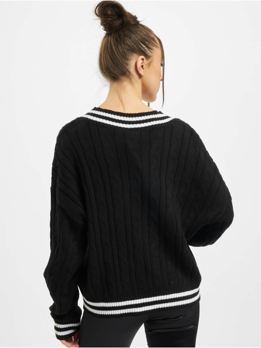 Urban Classics Swetry Ladies Short V-Neck College czarny