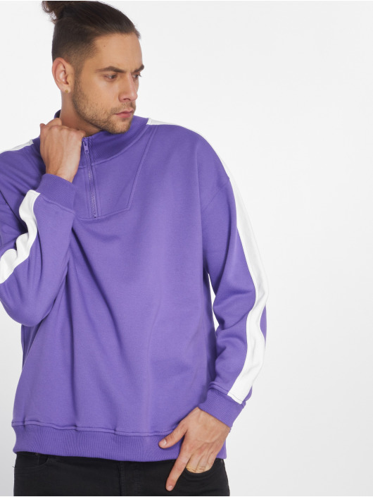 Urban Classics Swetry Oversize Stripe Troyer fioletowy