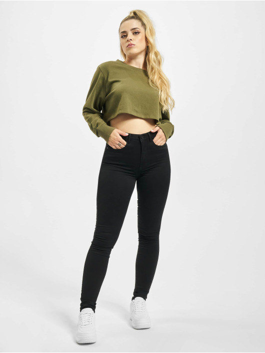 Urban Classics Swetry Terry Cropped oliwkowy