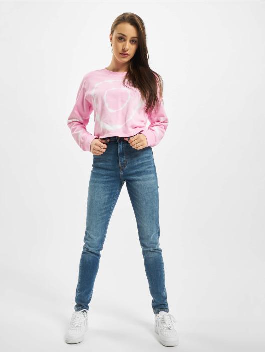Urban Classics Swetry Ladies Tie Dye Cropped Crewneck pink