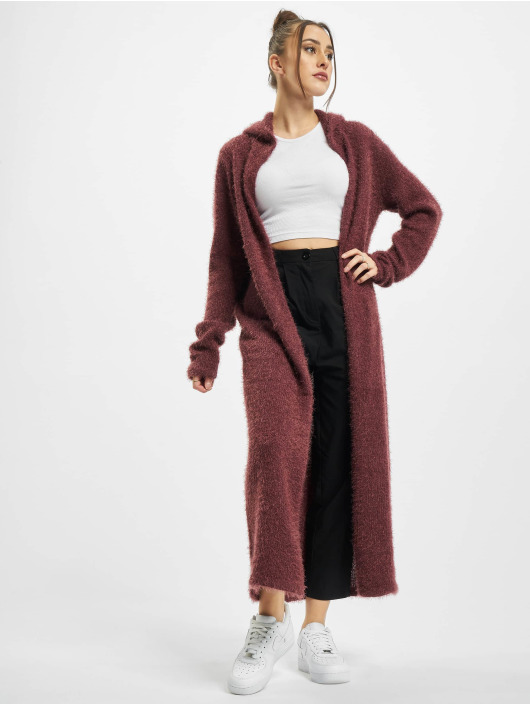 Urban Classics Swetry rozpinane Ladies Hooded Feather czerwony