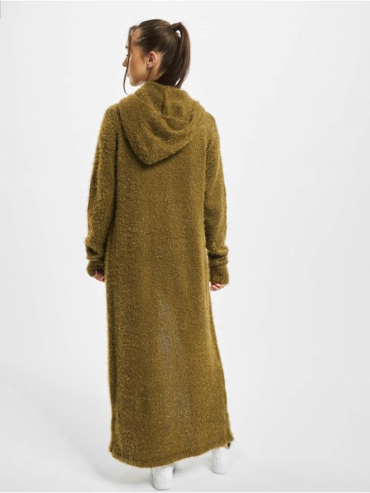Urban Classics Swetry rozpinane Ladies Hooded Feather oliwkowy