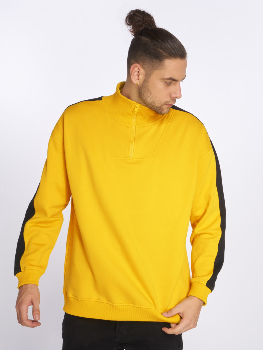 Urban Classics Swetry Oversize Stripe Troyer zólty