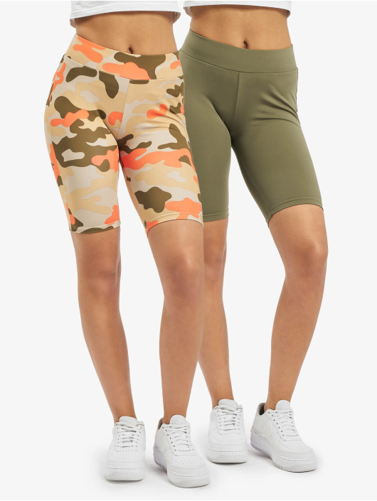 Urban Classics Szorty Ladies High Waist Camo Tech Cycle Double Pack moro