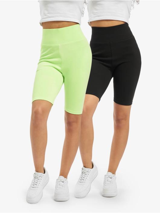 Urban Classics Szorty Ladies High Waist Cycle 2-Pack zielony