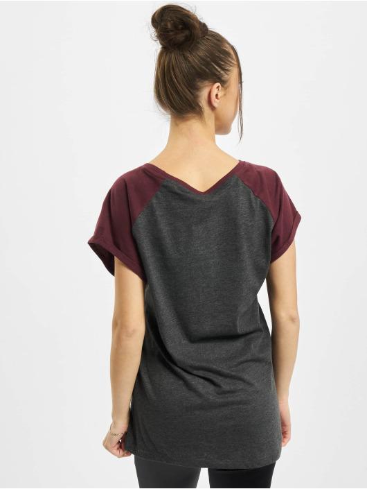 Urban Classics T-paidat Ladies Contrast Raglan harmaa