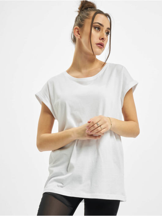Urban Classics T-paidat Ladies Organic Extended Shoulder Tee valkoinen