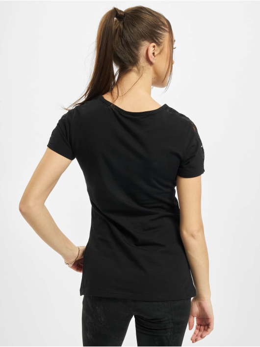 Urban Classics T-Shirt Ladies Lace Shoulder Striped Tee black