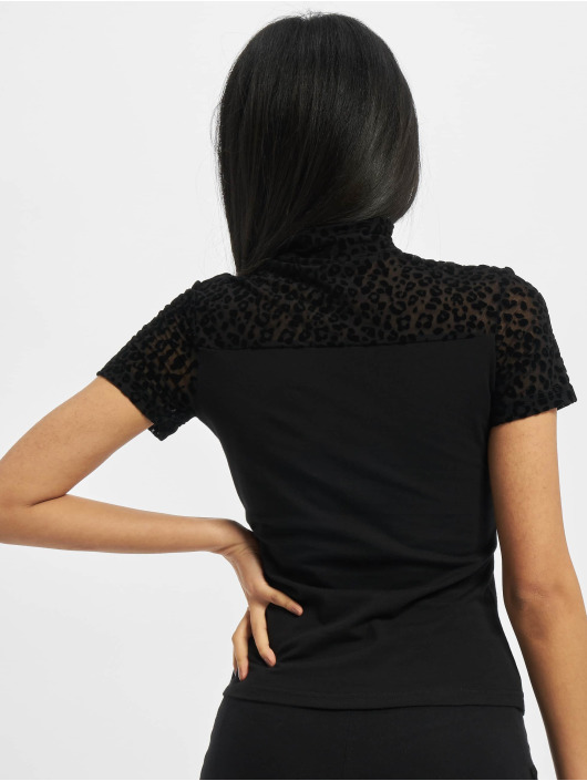 Urban Classics T-Shirt Ladies Flock Lace Turtleneck Tee black