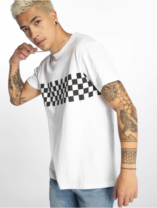 Urban Classics T-Shirt Check Panel blanc