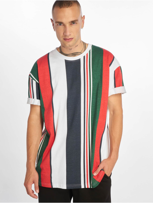 Urban Classics T-Shirt Heavy Oversized Big Stripe blanc