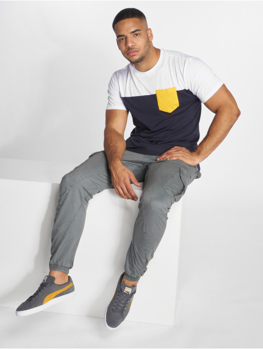 Urban Classics T-Shirt 3-Tone Pocket blue