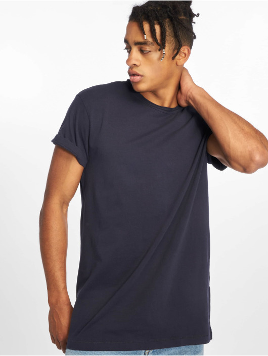 Urban Classics T-Shirt Pigment Dye High Low blue
