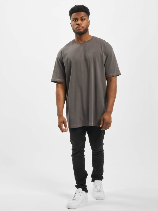 Urban Classics T-Shirt Heavy Oversized Contrast Stitch grau