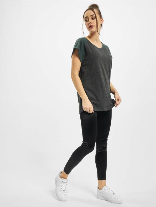 Urban Classics T-Shirt Ladies Contrast Raglan grau