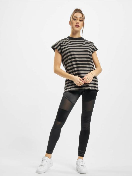 Urban Classics t-shirt Ladies Y/D Stripe Tee grijs