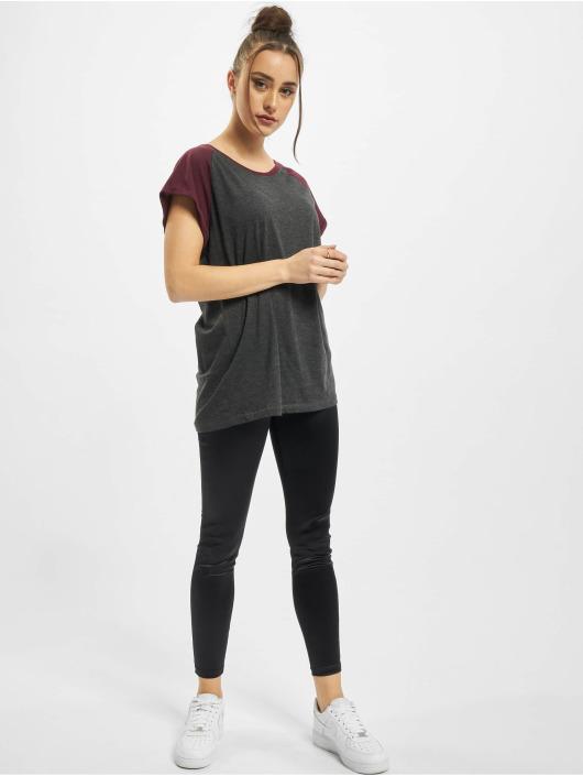 Urban Classics t-shirt Ladies Contrast Raglan grijs