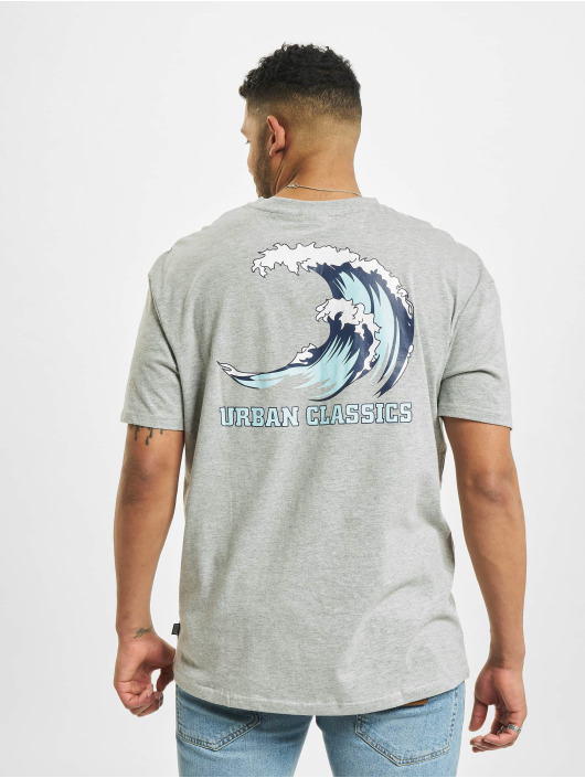 Urban Classics T-Shirt Big Wave gris