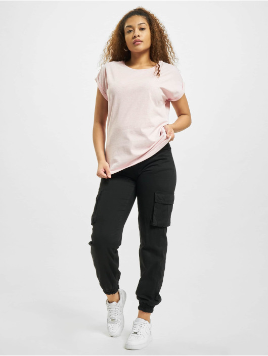 Urban Classics T-Shirt Color Melange Extended Shoulder magenta