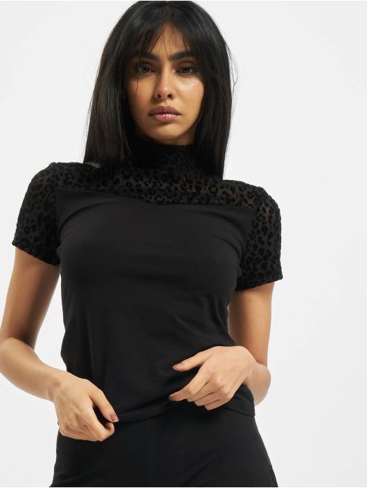 Urban Classics T-Shirt Ladies Flock Lace Turtleneck Tee noir