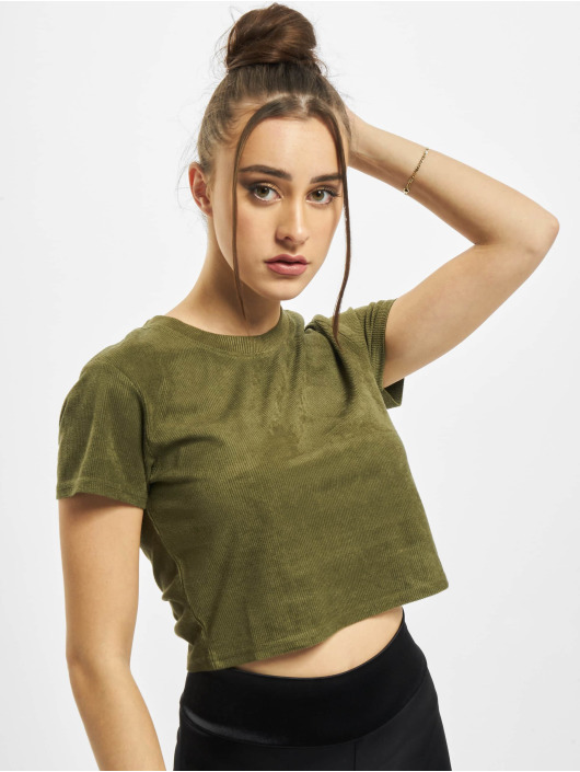 Urban Classics t-shirt Ladies Cropped Peached Rib Tee olijfgroen
