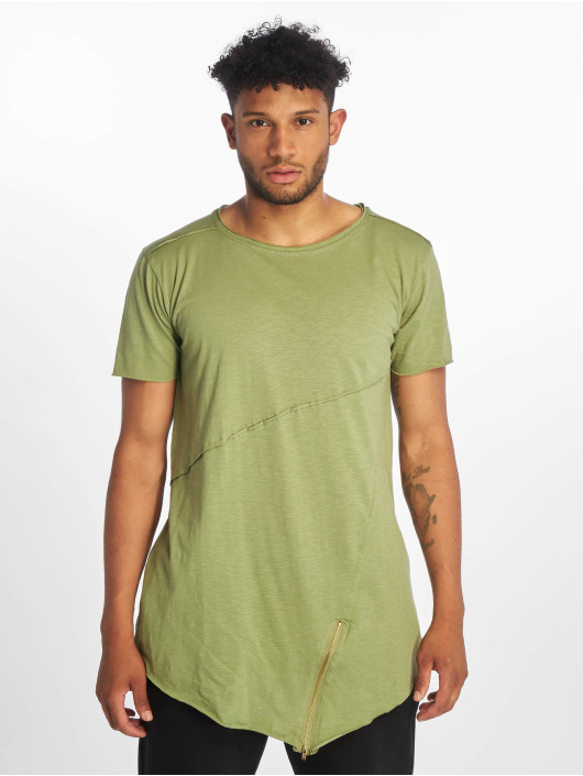 Urban Classics T-Shirt Long Open Edge Front Zip olive