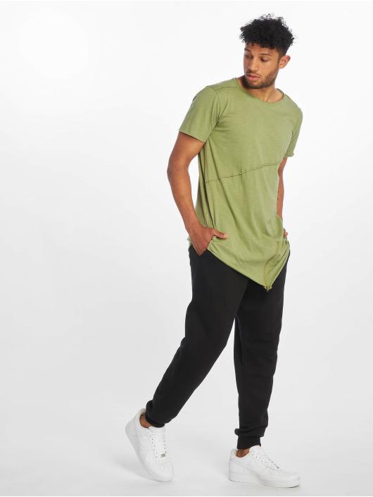 Urban Classics T-Shirt Long Open Edge Front Zip olive