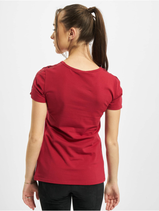 Urban Classics T-Shirt Ladies Lace Shoulder Striped Tee red
