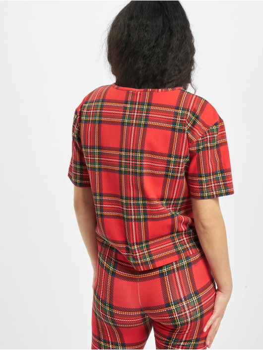 Urban Classics T-shirt Ladies AOP Tartan Short Oversized Tee röd