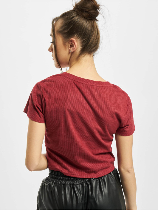 Urban Classics t-shirt Ladies Cropped Peached Rib rood