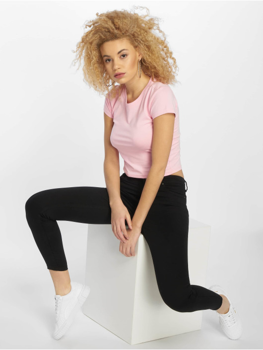 Urban Classics T-shirt Stretch Jersey Cropped rosa