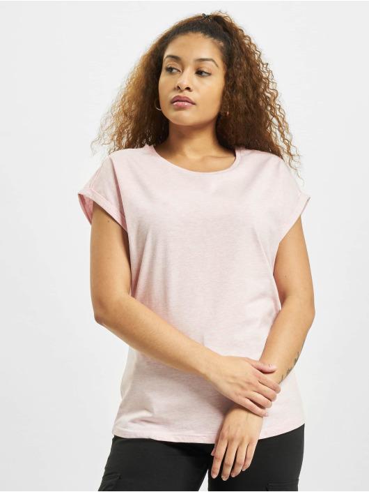 Urban Classics T-shirt Color Melange Extended Shoulder rosa