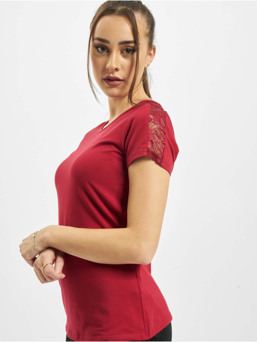 Urban Classics T-shirt Ladies Lace Shoulder Striped Tee rosso