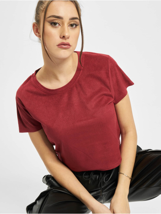 Urban Classics T-Shirt Ladies Cropped Peached Rib rouge