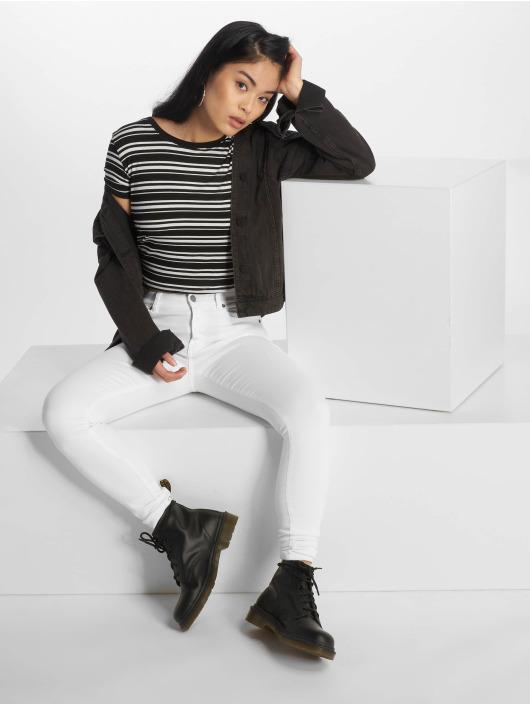Urban Classics T-Shirt Rib Stripe Cropped schwarz