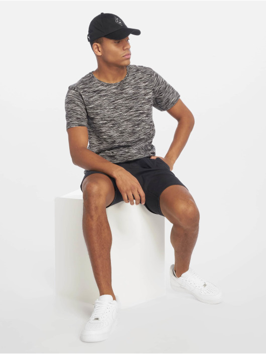 Urban Classics T-Shirt Striped Melange schwarz