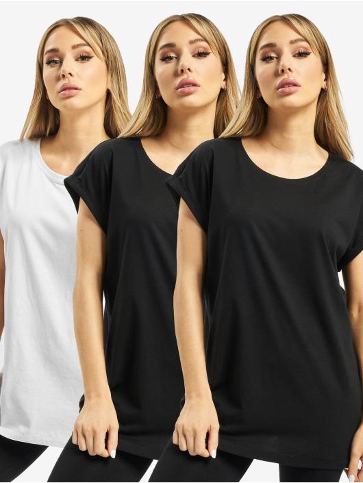 Urban Classics T-Shirt Ladies Extended Shoulder 3-Pack schwarz